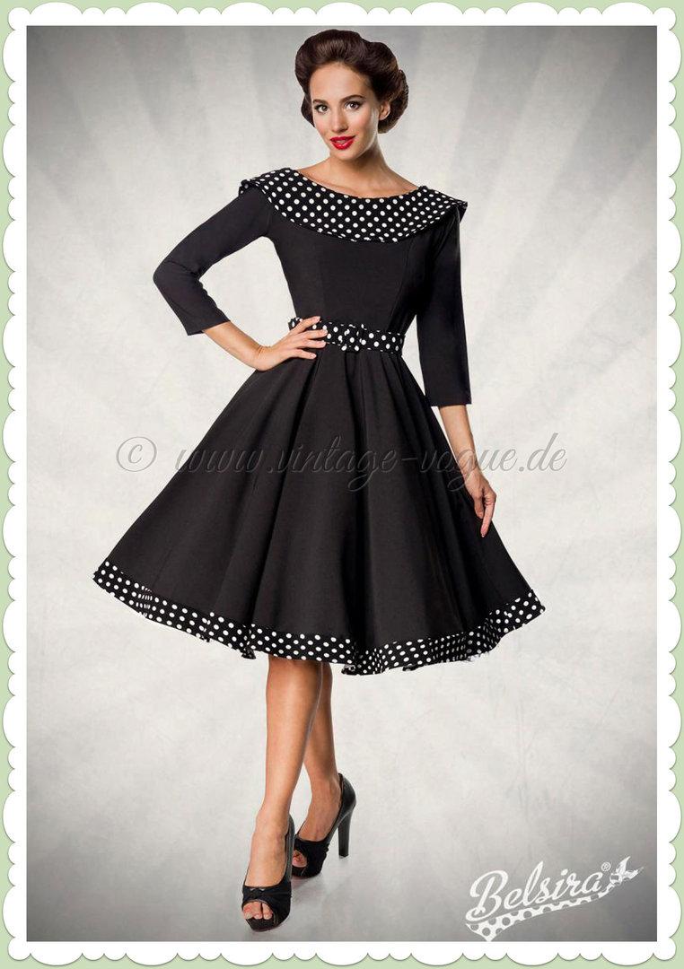 50e376094d Belsira Premiun 50er Jahre Rockabilly Petticoat Swing Kleid - Schwarz Weiß