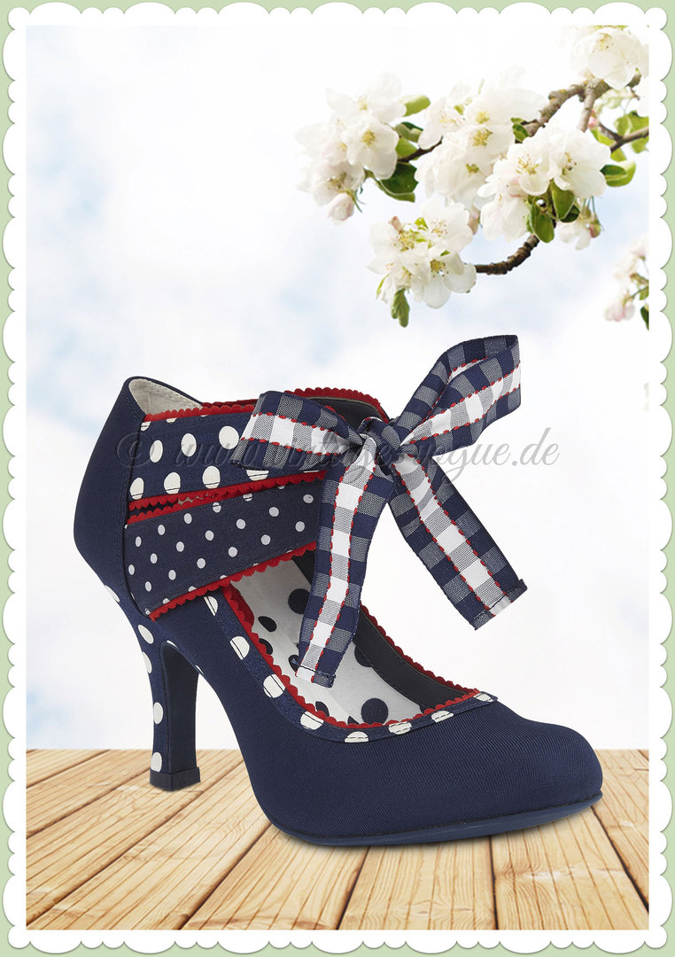 adeaafb8688590 Ruby Shoo 40er Jahre Retro Vintage Schuhe Punkte Pumps - Aisha - Navy Blau