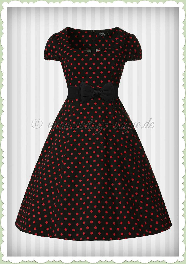 ffcb5dacc151 Dolly & Dotty 50er Jahre Rockabilly Punkte Kleid - Claudia - Schwarz Rot