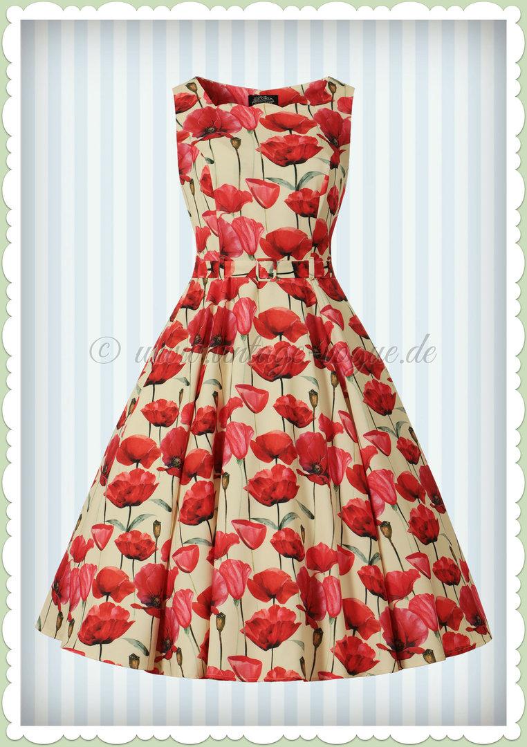 f9501967320 Hearts   Roses 50er Jahre Retro Floral Petticoat Kleid - Sweet Poppy - Beige