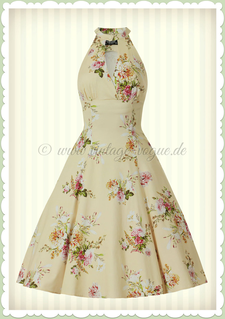41f9a7962efe26 Hearts &Roses 50er Jahre Retro Petticoat Kleid - Lucinda Floral - Hell Gelb