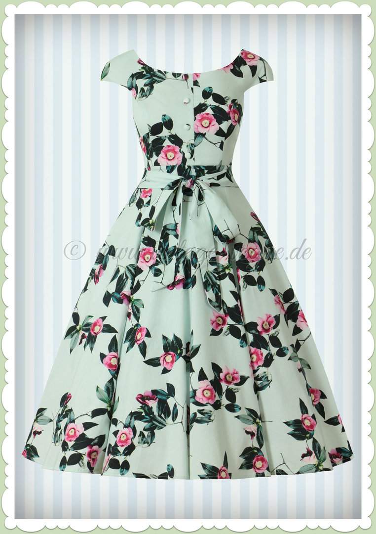 0251e67c3c4 Hearts   Roses 50er Jahre Retro Floral Kleid - Mademoiselle - Hell Blau