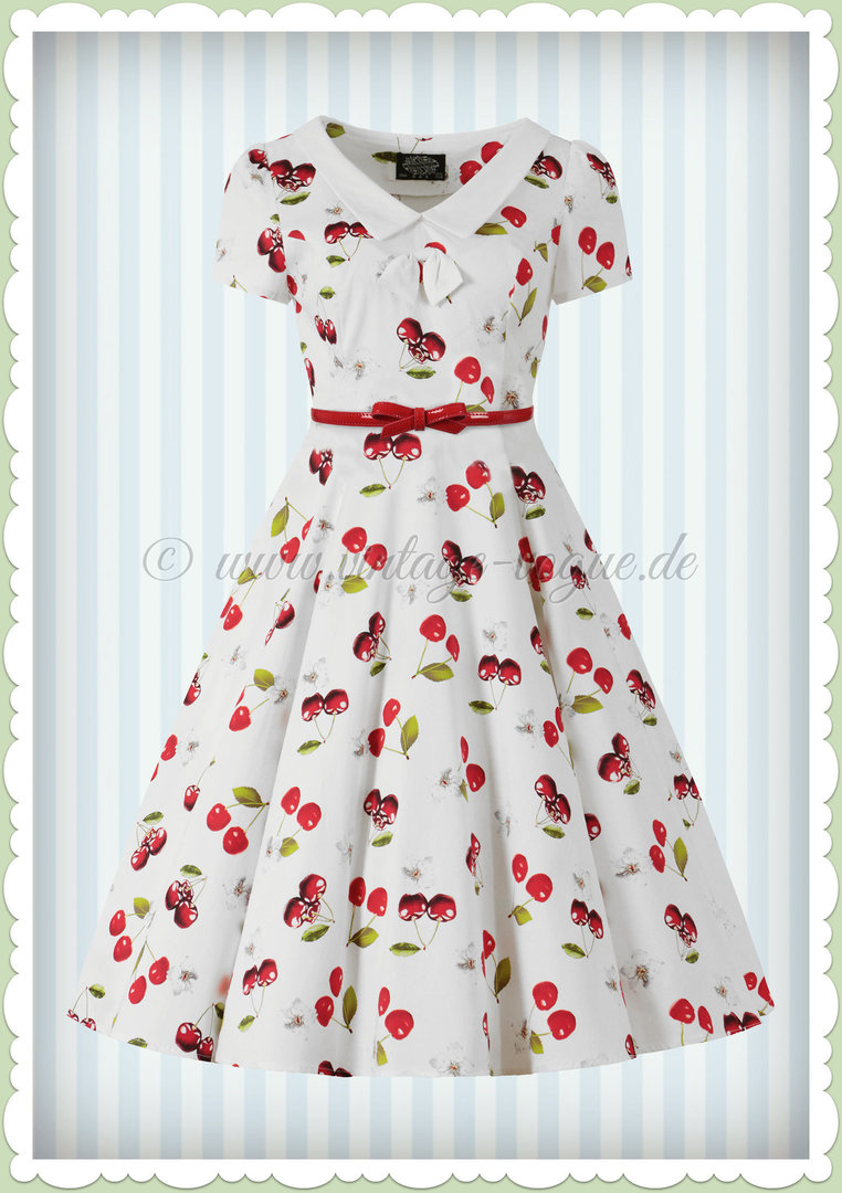Vintage 50er Weiß Cherry Top Rot Petticoat On Kleid Jahre Heartsamp; Roses ID2H9WE