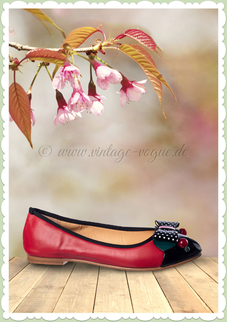 fb4a1caf17b06b Banned 50er Jahre Rockabilly Vintage Kirschen Ballerinas - Marilou - Rot