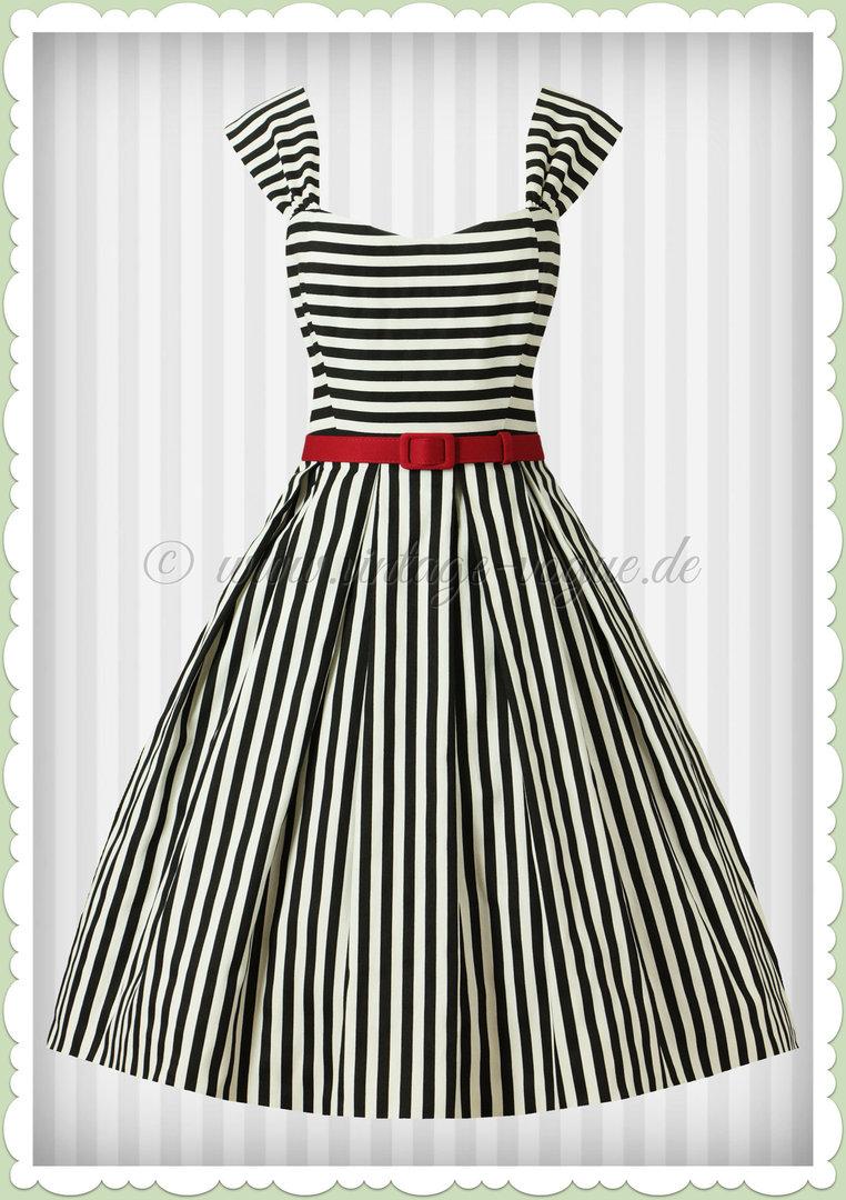 4d01eb7d950 Collectif 50er Jahre Retro Rockabilly Streifen Kleid - Jill - Schwarz Weiß