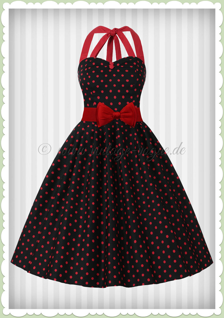 Dotty Rockabilly Rot Dollyamp; Jahre Sophia 50er Kleid Schwarz Punkte 76vmgYfbIy