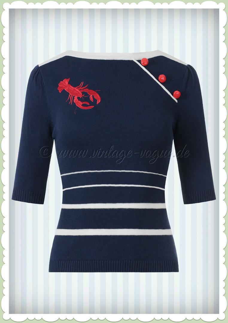 44 Shirt gestreift Langarm mit Herz Stickerei Streifen marine blau weiß Gr