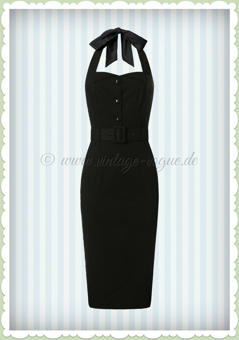 1e72fbe042e366 Collectif 50er Jahre Pin Up Rockabilly Pencil Kleid - Wanda - Schwarz