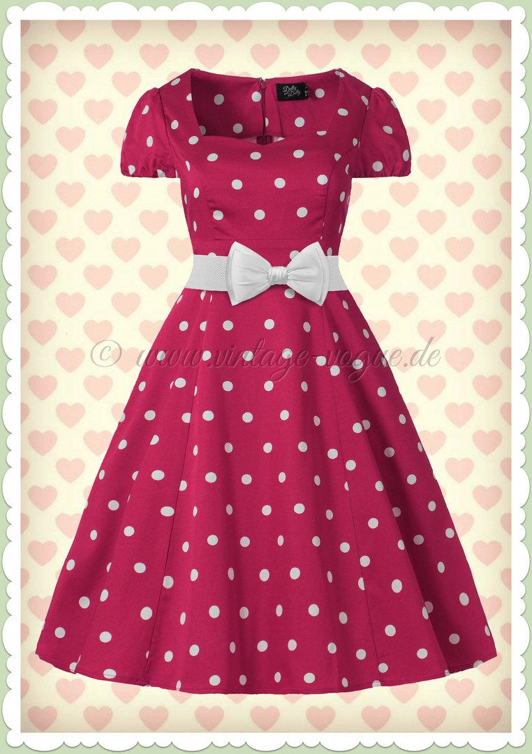 Weiß Pink Rockabilly Kleid Claudia Dollyamp; Punkte Dotty 50er Jahre lK1JFc