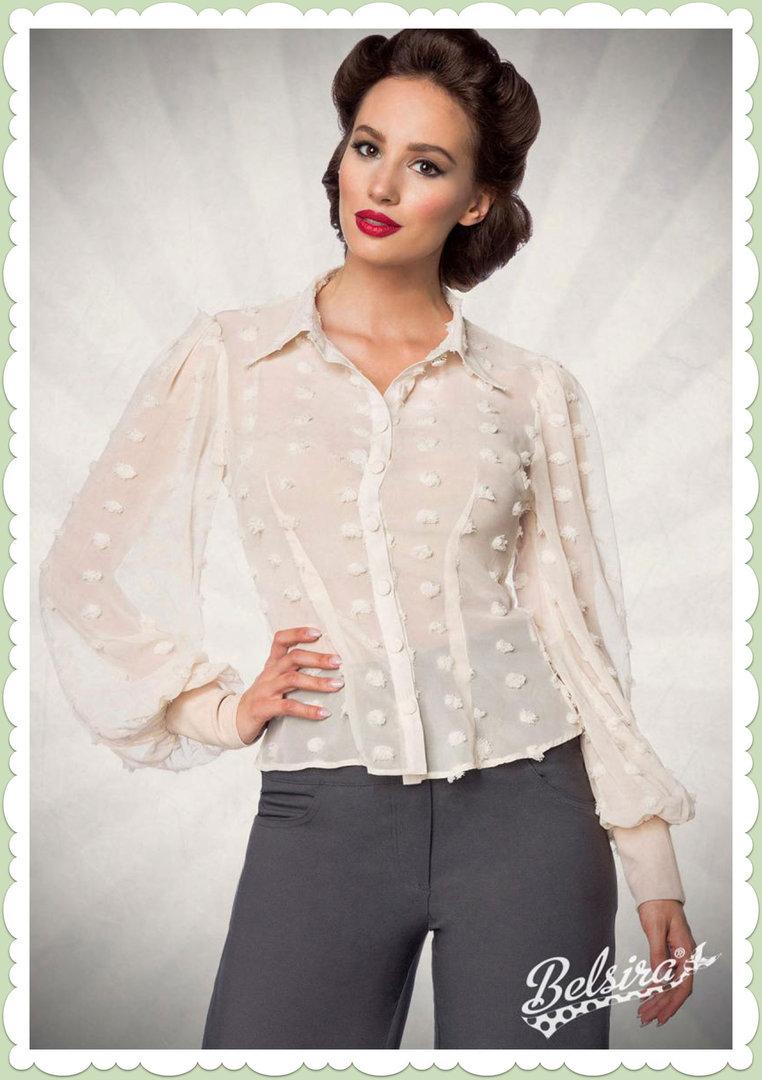 ed98280111bd59 Belsira 50er Jahre Rockabilly Retro Punkte Bluse - Vintage - Weiß