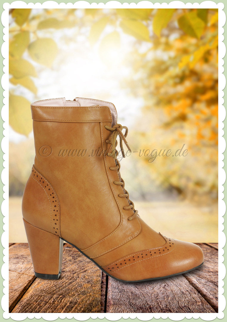 Collectif 50er Jahre Vintage Ankle Boot Stiefelette Adela Hell Braun