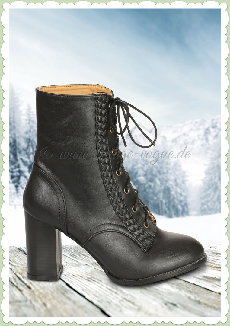 Banned 40er Jahre Retro Ankle Boot Stiefelette Clustered Heritage Black