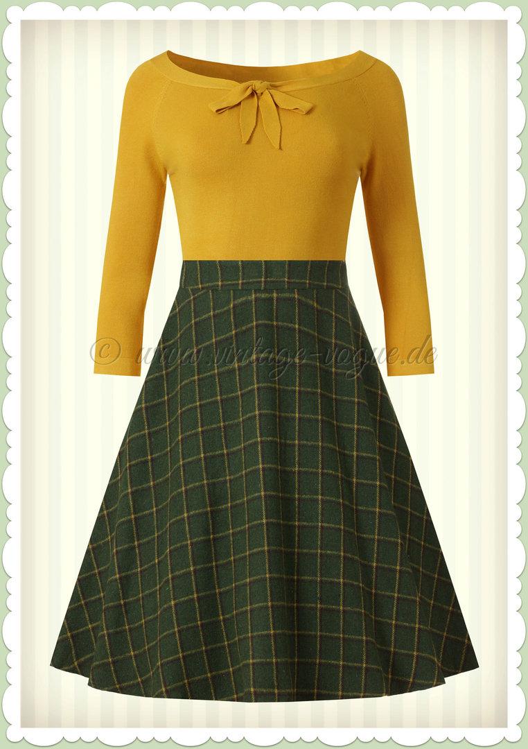 Banned 50er Jahre Retro Vintage Petticoat Tartan Rock Ladies Day Grün