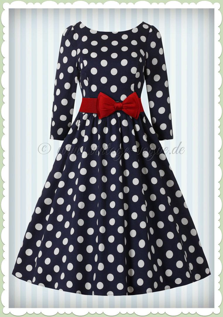 Hearts & Roses 50er Jahre Rockabilly Punkte Kleid Milona Dunkel Blau