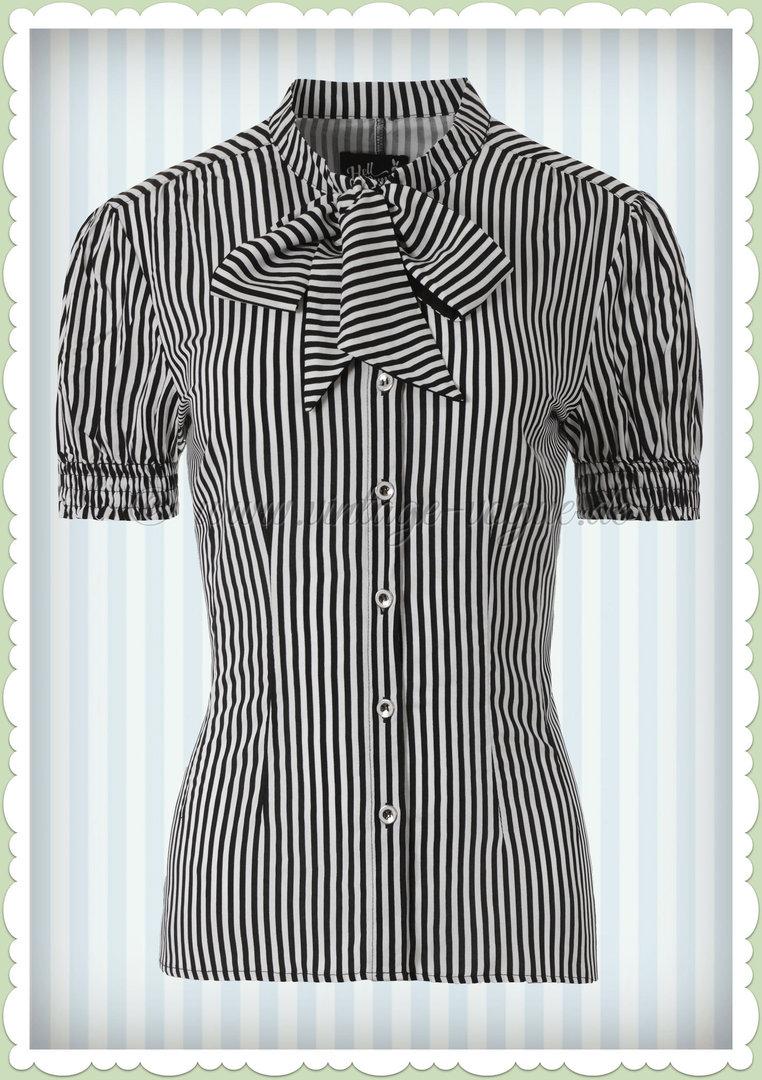 Hell Bunny 40er Jahre Vintage Streifen Bluse Humbug Schwarz Weiß
