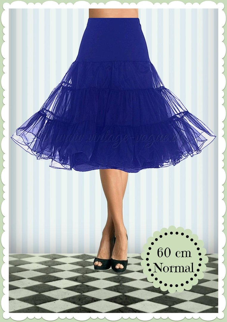 Boolavard 1950's Organza Rockabilly Petticoat Push-Up Tanzrock Royal Blau