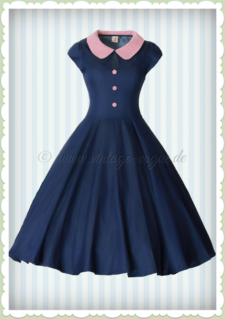 Banned 50er Jahre Rockabilly Pin Up Jeans Kleid - Blueberry Hill - Denim