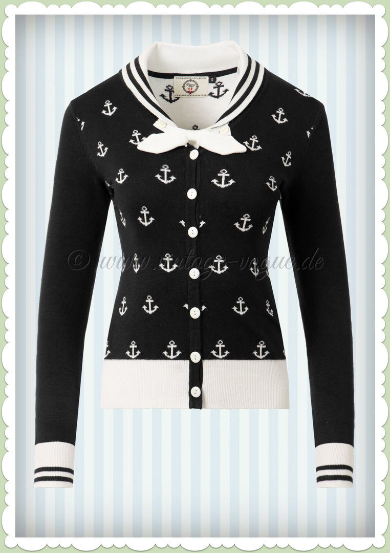 Banned 50er Jahre Vintage PinUp Anker Cardigan -Small Anchors- Schwarz