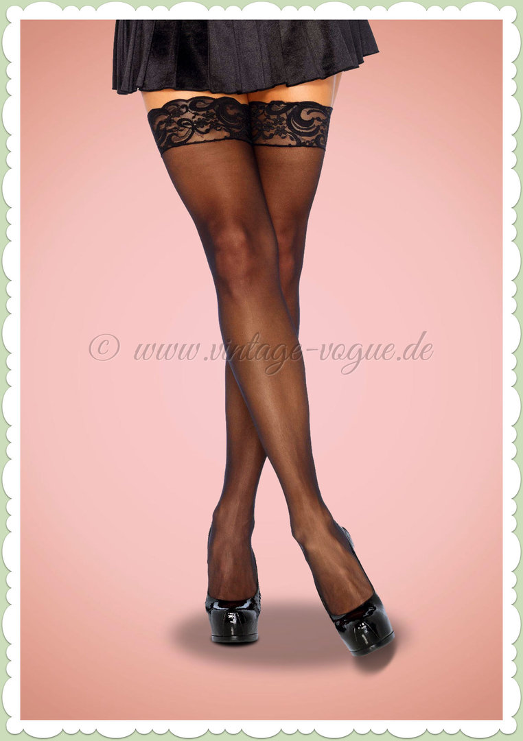 Leg Avenue Strümpfe - Sheer Thigh Highs Stockings - Schwarz