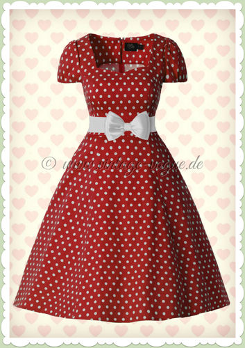 Dolly & Dotty 50er Jahre Rockabilly Punkte Kleid - Claudia - Rot