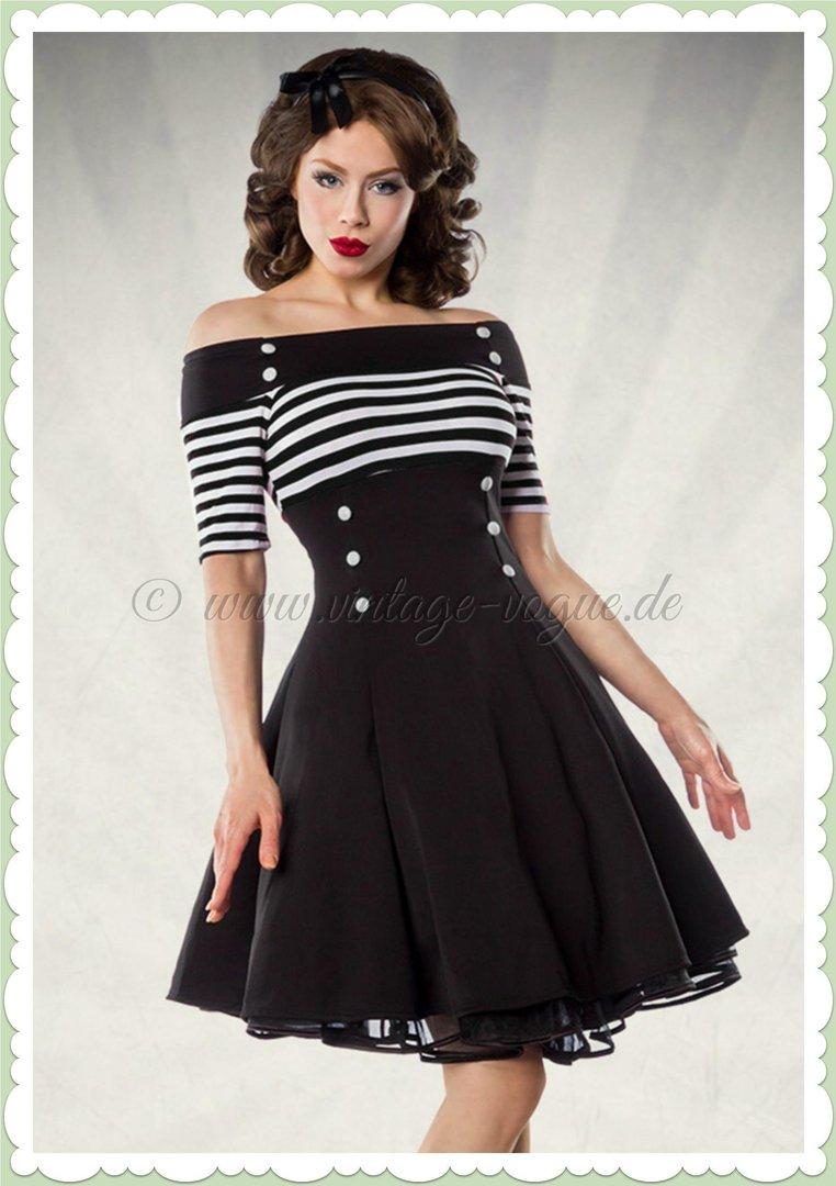 Belsira 9er Jahre Rockabilly Petticoat Kleid   Stripes   Schwarz Weiß