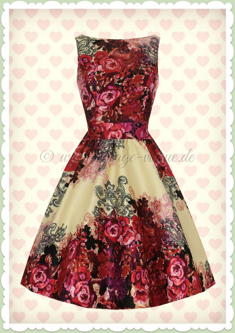 Lady Vintage 9er Jahre Retro Rosen Kleid   Rose Floral   Rot Cremeweiß