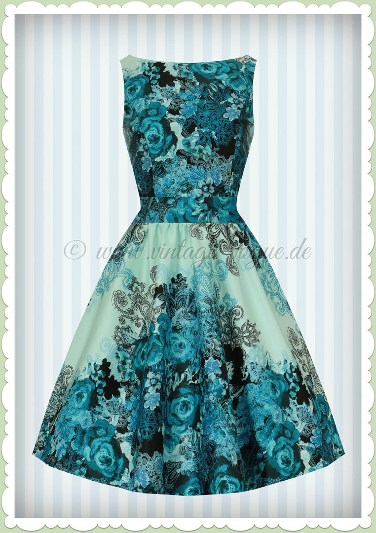Lady Vintage 15er Jahre Retro Rosen Kleid - Rose Floral - Blau Türkis