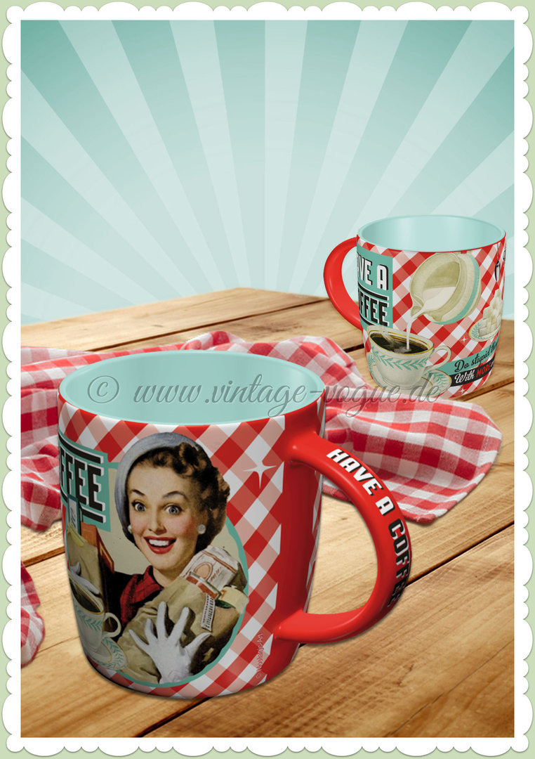 "Nostalgic Art Retro Pin Up Tasse ""Have a coffee - do stupid things faster"""