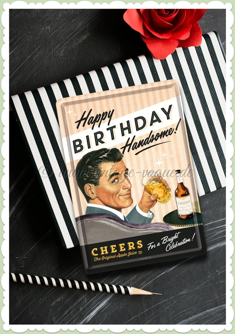 "Nostalgic Art Retro Pin Up Blechpostkarte ""Happy Birthday Handsome"""