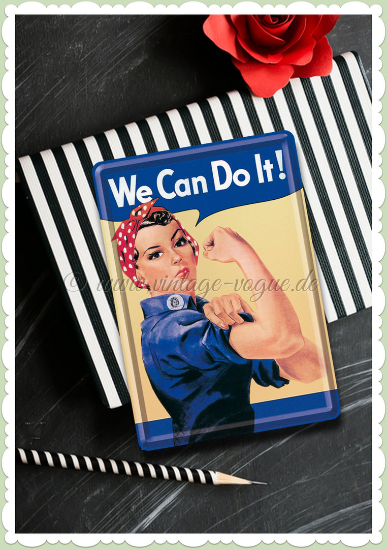 "Nostalgic Art Retro Pin Up Blechpostkarte ""We can do it"""