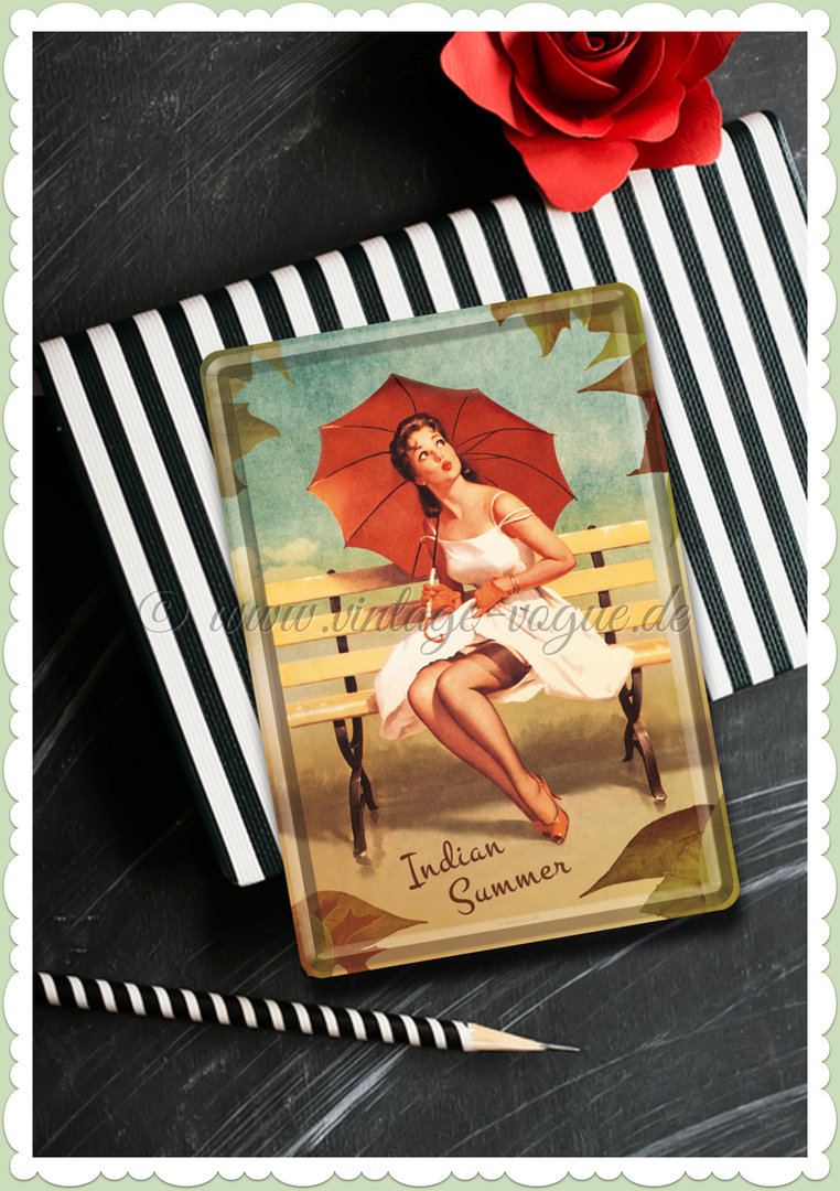 "Nostalgic Art Retro Pin Up Blechpostkarte ""Indian Summer"""