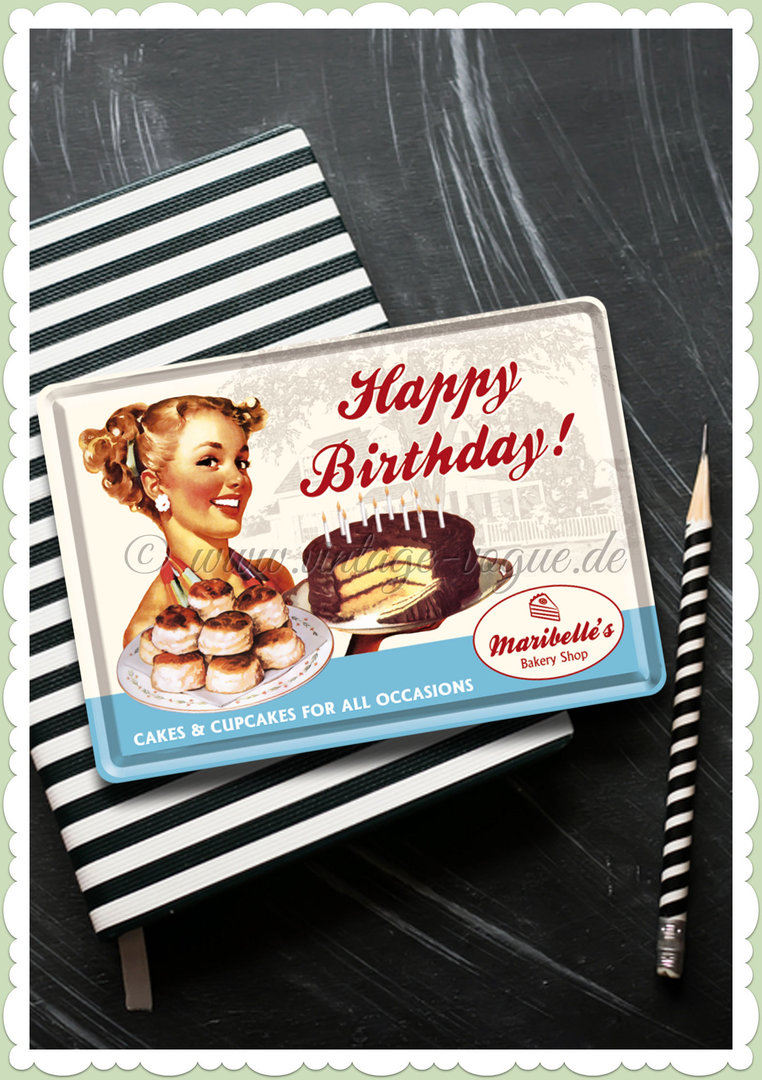 "Nostalgic Art Retro Pin Up Blechpostkarte ""Happy Birthday Cake"""