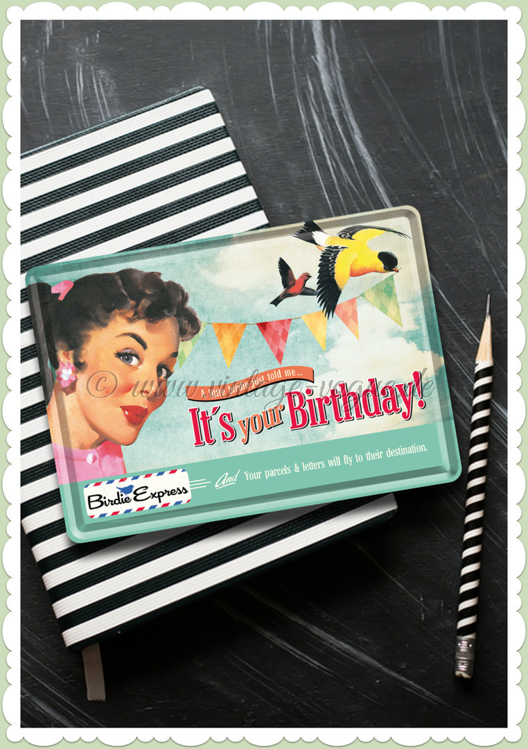 "Nostalgic Art Retro Pin Up Blechpostkarte ""It's your birthday"""