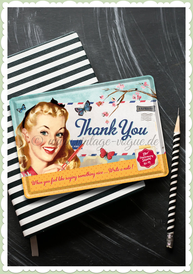 "Nostalgic Art Retro Pin Up Blechpostkarte ""Thank you"""