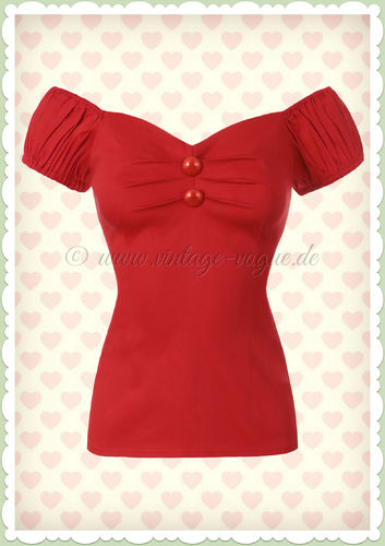 Collectif 50er Jahre Pin Up Vintage Top Shirt  - Dolores - Rot