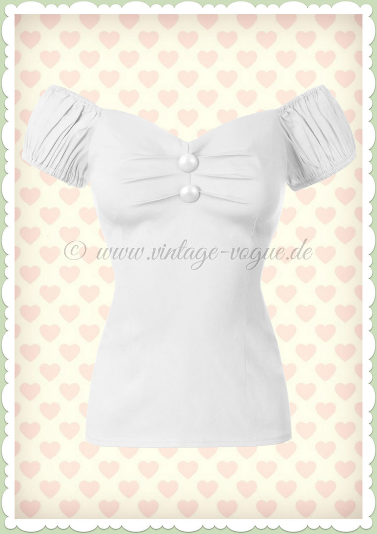 Collectif 50er Jahre Pin Up Vintage Top Shirt  - Dolores - Weiß