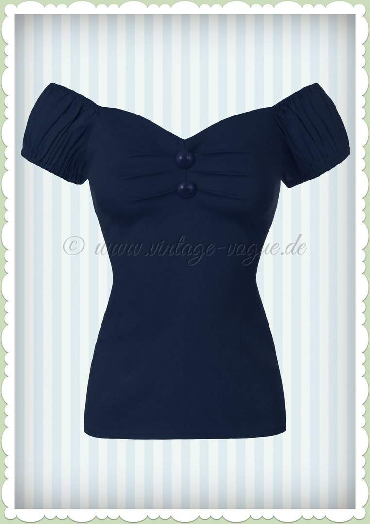 Collectif 50er Jahre Pin Up Vintage Top Shirt  - Dolores - Navy Blau