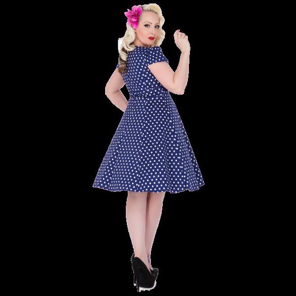 Dolly   Dotty 50er Jahre Rockabilly Punkte Kleid - Claudia - Navy Blau 20b433666f