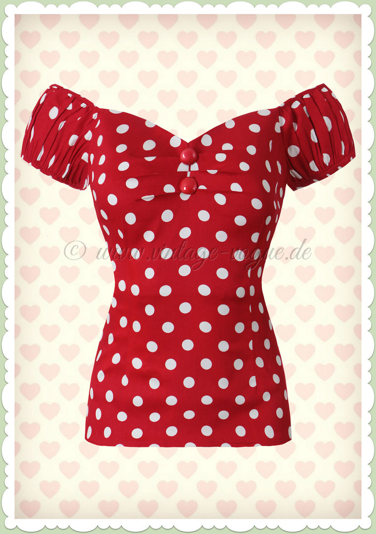 Collectif 50er Jahre Punkte Pin Up Vintage Top - Dolores - Rot Weiß