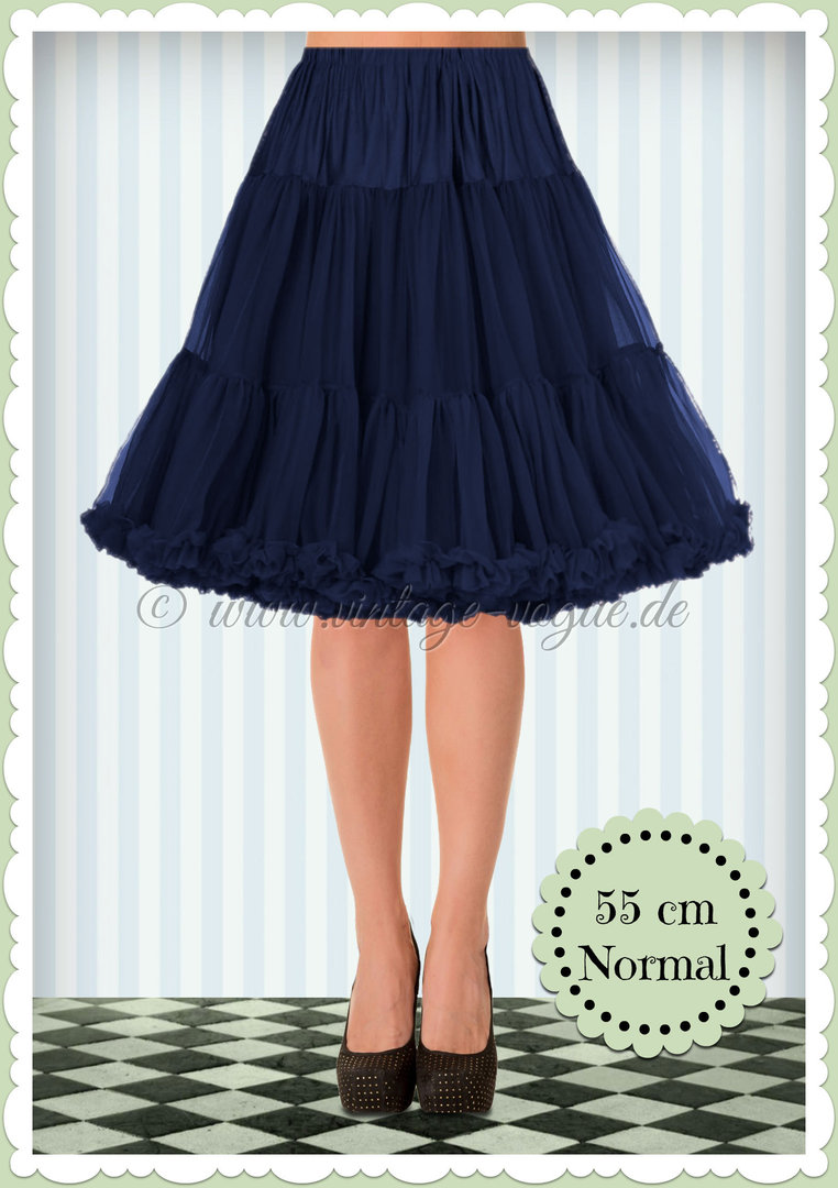Banned 1950's Rockabilly Swing Petticoat Rüschen Tanzrock in Navy