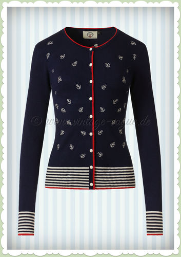 Banned 50er Jahre Vintage Pin Up Anker Cardigan - Close Call - Navy