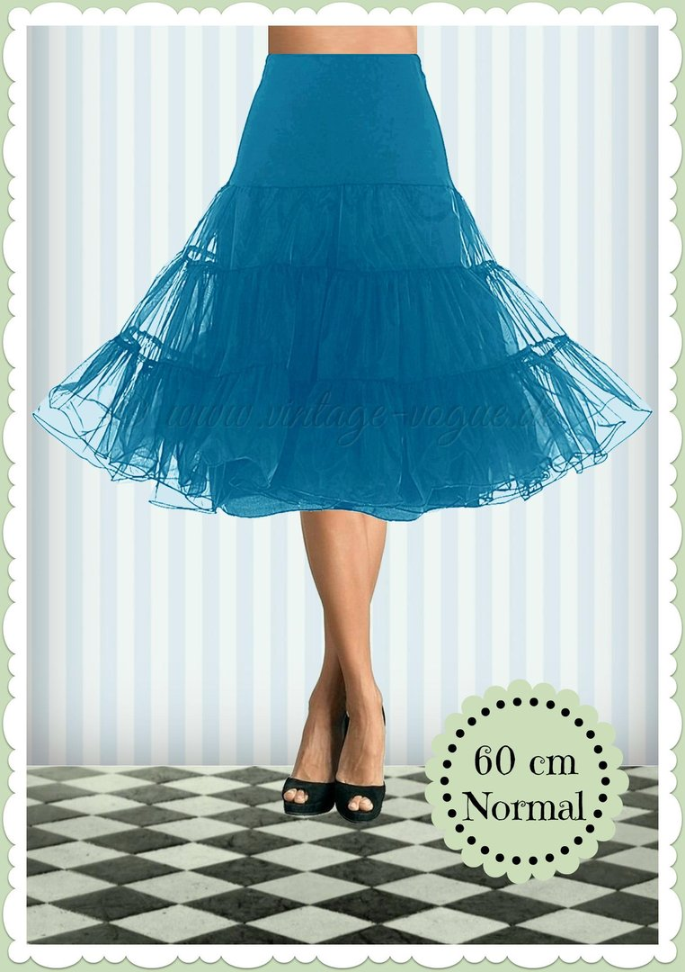 Boolavard 1950's Organza Rockabilly Petticoat Push-Up Tanzrock Saturn Blau