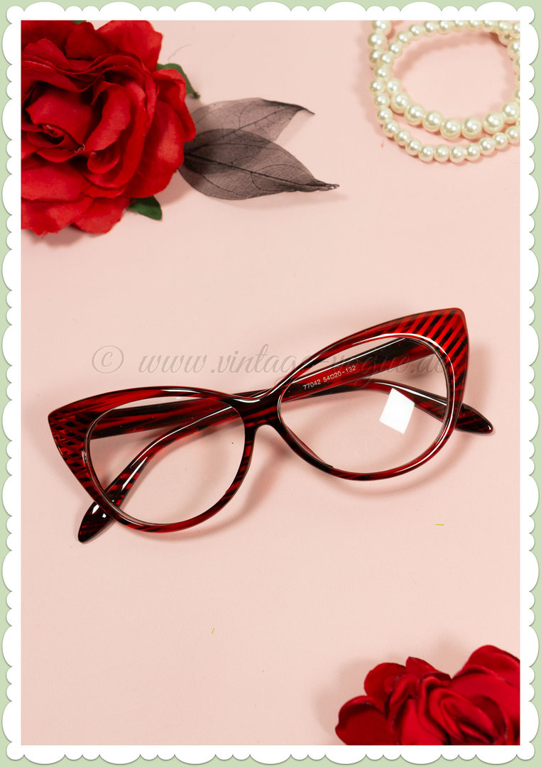 Boolavard 50er Jahre Retro Cat Eye Klarglas Brille - Stripes - Rot Schwarz