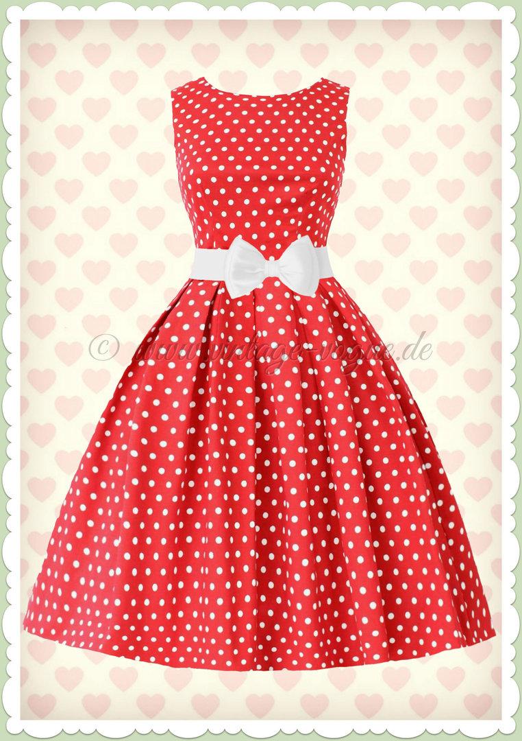 Dolly & Dotty 10er Jahre Retro Punkte Petticoat Kleid - Lola - Rot Weiß