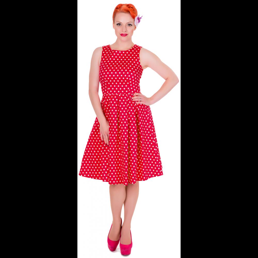 Dolly & Dotty 50er Jahre Retro Punkte Petticoat Kleid - Lola - Rot Weiß