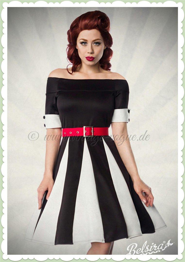 Belsira 50er Jahre Retro Petticoat Streifen Kleid - Godet - Weiß Schwarz