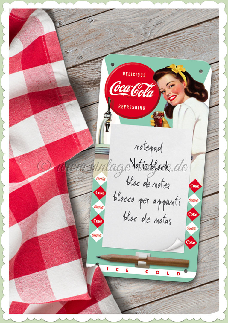 "Nostalgic Art Retro Pin Up Notiz Blechschild ""Coca Cola Diner Lady"""