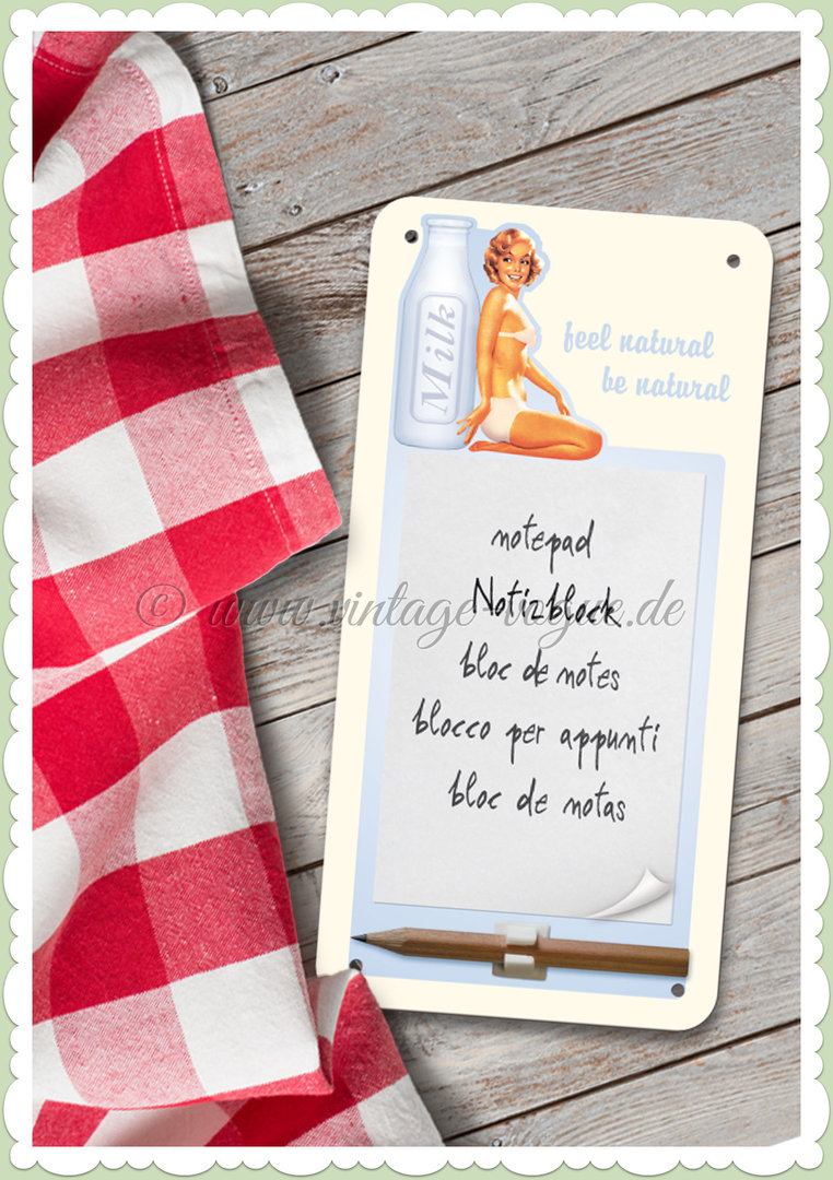 "Nostalgic Art Retro Pin Up Notiz Blechschild ""Milk Love"""