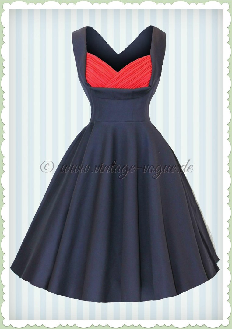 Dolly & Dotty 50er Jahre Retro Vintage Petticoat Kleid - Grace - Navy Rot