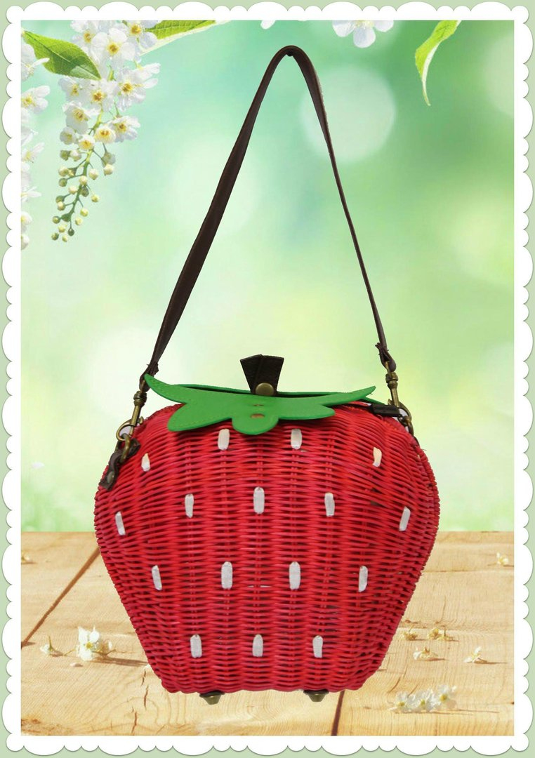 Collectif Retro Vintage Erdbeere Rattan Handtasche - Strawberry - Rot
